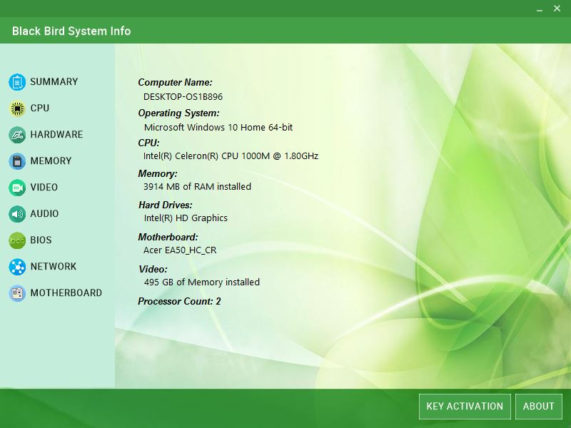Black Bird System Info screenshot
